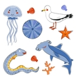 Sea creatures colorful collection vector image