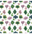 seamless pattern with spring forest endless vector image