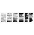 set grunge black paint ink brush strokes vector image