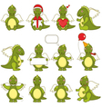 set of little green dragons vector image