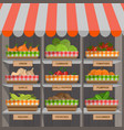 shopping stands with vegetables in baskets vector image
