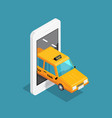smart taxi isometric design concept vector image vector image