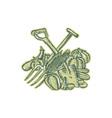 Spade Pitchfork Crop Harvest Etching vector image vector image