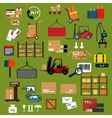 Storage delivery and logistics flat icons vector image vector image
