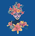sugar skull witch woman in flower crown portrait vector image vector image