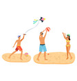 Summer recreation activities on sand man and woman