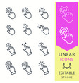touch - line icon set editable stroke vector image vector image