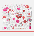 valentines day icon sticker set vector image
