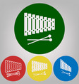 xylophone sign 4 white styles of icon at vector image