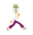 young man carrying wrapped vector image vector image