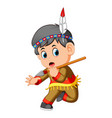 a boy american indian holding spear vector image vector image