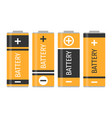a set of four yellow batteries vector image vector image