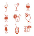 alcoholic drinks selection of simple images doodle vector image vector image