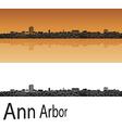 Ann Arbor skyline in orange background vector image vector image