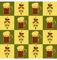 Beer mugs and hop seamless pattern vector image vector image