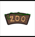 board of zoo in cartoon style animals park vector image