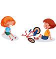 boy ang girl injured at head and arm from riding vector image vector image