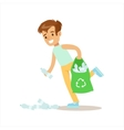 Boy Picking Up Recycle Plastic Bottles Helping In vector image vector image