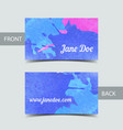 Business card template for watrcolor vector image vector image