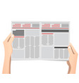 business man hands holding newspaper vector image vector image