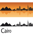 Cairo skyline in orange background vector image vector image