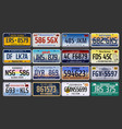 car registration numbers and license plates in usa vector image vector image