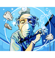 cartoon man dentist with a drill in his hand vector image vector image