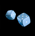 casino blue dice on black background online vector image vector image