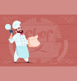 chef cook holding packet with food and mobile vector image vector image
