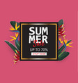 creative summer sale banner with tropical leaves vector image vector image