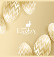 easter eggs on gold background vector image vector image