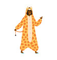 funny dark skin woman in giraffe kigurumi at theme vector image vector image