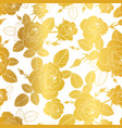 gold and white roses and leaves drawing vector image vector image