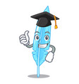 graduation cartoon feather for writing vector image vector image
