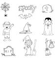Halloween flat doodle art vector image vector image