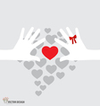 Hands holding hearts vector image vector image