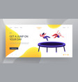 happy couple jumping on trampoline website landing vector image vector image