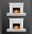 Indoor fireplace set on transparent background