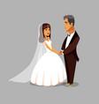 just married newlyweds cartoon design element vector image vector image