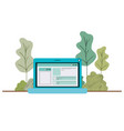laptop computer with forest landscape vector image vector image
