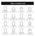 man avatars set in black line style vector image vector image
