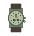 military style watch with brown leather strap time vector image