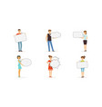 people characters standing and holding speech vector image