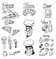 pizza doodles vector image