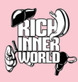 rich inner world hand drawn placard with vector image