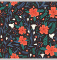 seamless pattern with flowers on a dark vector image vector image