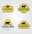 set cow livestock logo vintage design vector image vector image