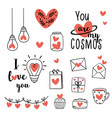 set isolated black valentine icons and hearts vector image