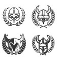 set of emblems with medieval helmets and wreaths vector image