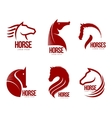 Set of horse head graphic logo templates vector image